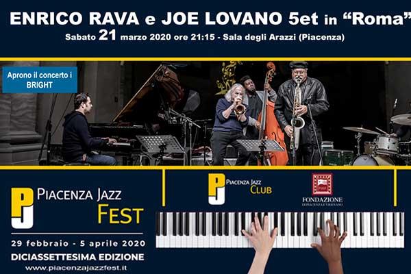 Biglietti - Enrico Rava e Joe Lovano Quintet (Bright) - Galleria Alberoni Piacenza